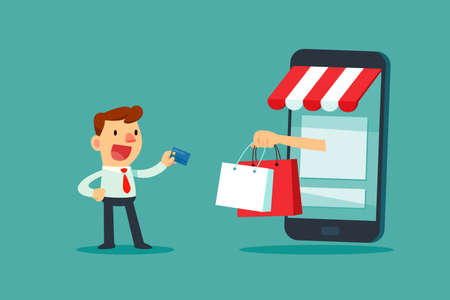 Businessman use credit card for online shopping store. Online shopping business concept.