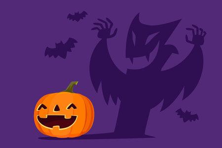 Halloween carved pumpkin with shadow as dracula and bats. Halloween pumpkin cartoon illustration.