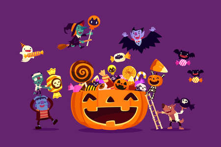 Halloween monsters filling giant carved pumpkin basket with candies and sweets. Halloween characters cartoon illustration.