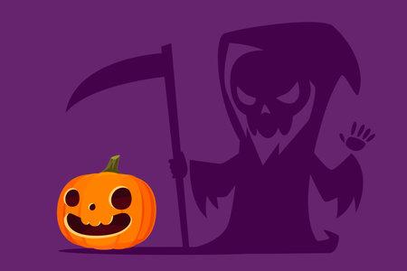 Halloween carved pumpkin with shadow as grim reaper holding scythe. Halloween pumpkin funny cartoon illustration.
