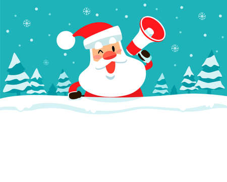 Santa claus holding megaphone on top of blank space with snowy background. Christmas holiday illustration.