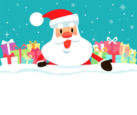 Santa claus and present boxes on top of blank space with snowy background. Christmas holiday illustration.