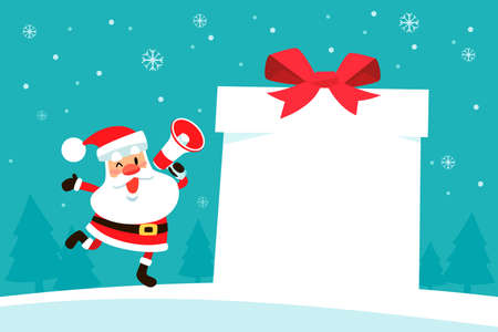 Santa claus holding megaphone with blank sign shape like gift box in snowy background. Christmas holiday illustration.