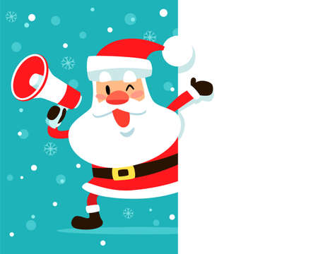 Santa claus holding megaphone on the side of blank space. Christmas holiday illustration.