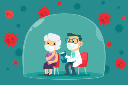 Elderly woman with face mask get vaccinated by doctor inside glass dome. Covid-19, Coronavirus vaccine concept. Çizim