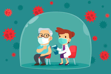 Elderly man with face mask get vaccinated by doctor inside glass dome. Covid-19, Coronavirus vaccine concept.