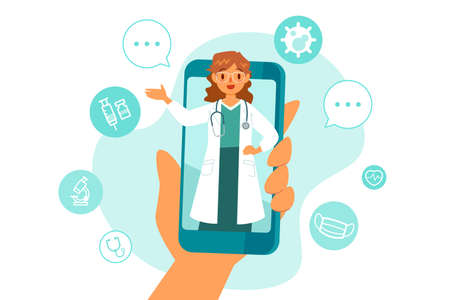 Female doctor on smart phone screen giving online consultation with medical icons in background. Telemedicine remote health care services concept.