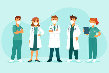 Team of doctors and nurses wearing medical mask. Healthcare and medical staff concept.