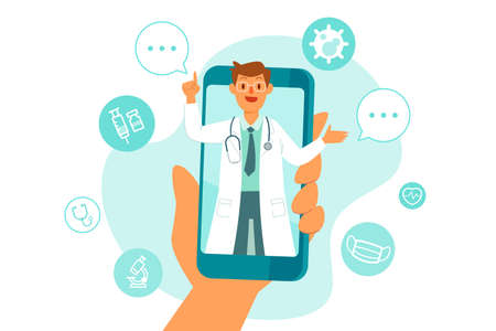 Doctor on smart phone screen giving online consultation with medical icons in background. Telemedicine remote health care services concept.
