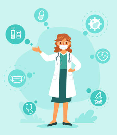 Female doctor wearing face mask give medical advice with medical icons. Healthcare and medical information concept.
