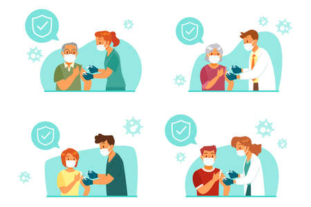 Set of people with face mask getting vaccinated by doctor or nurse. Covid-19, Coronavirus vaccination concept.