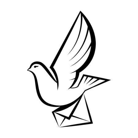 image of pigeon carrying letter
