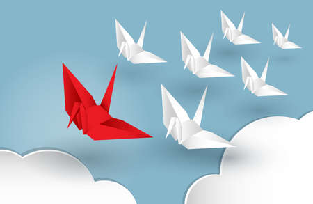 Illustration of leadership concept with origami red paper bird leading among white.