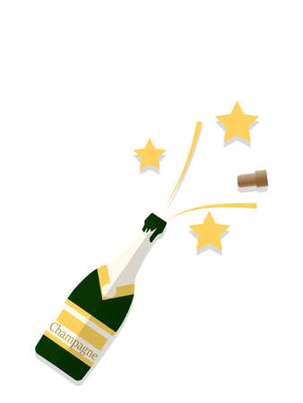 Illustration of bottle of champagne popping its cork and splashing with golden star.