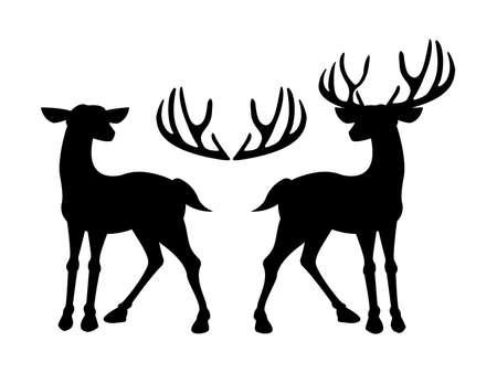 Male deer and female deer icon illustration. Illustration
