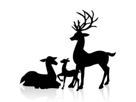 Male deer and female deer icon illustration.  イラスト・ベクター素材