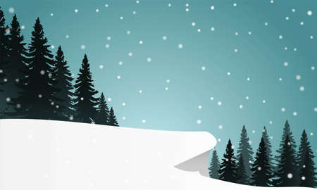 Illustration of snow hill near pine trees under snow and clear blue sky.
