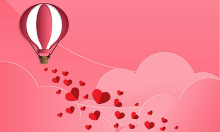Vector illustration of  red paper hearts falling from hot air balloon on pink sky and clouds background. Concept of love and valentine day, paper art style. Illustration