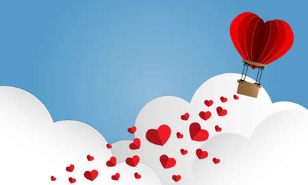 Vector illustration of  red paper hearts falling from hot air balloon on pink sky and clouds background. Concept of love and valentine day, paper art style. Vettoriali