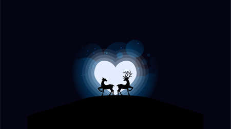 Vector illustration of deers couple looking at the full moon in heart shape. Night sky with stars and cloud. Vector illustration background. Design for valentine day.