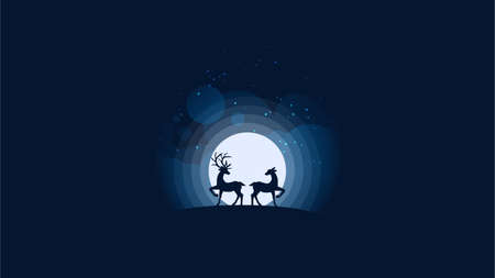 Vector illustration of deers couple looking at the full moon. Night sky with stars and cloud. Vector illustration background.