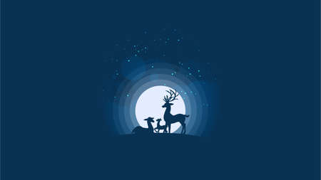 Vector illustration of deer's family looking at the full moon. Night sky with stars and cloud. Vector illustration background.