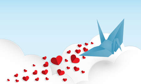 Vector illustration of  red paper hearts falling from paper origami bird in blue color on blue sky and white clouds background. Concept of love and valentine day, paper art style. Illustration