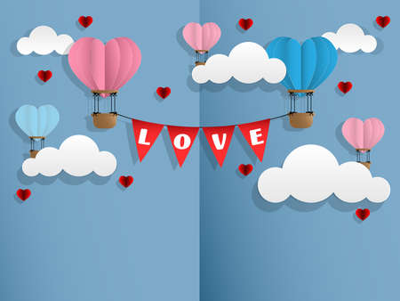 Vector illustration of two hot air balloons in a heart shape float with L O V E text on red flag and red paper hearts on blue sky and white cloud background. Concept of love and valentine day, paper art style.