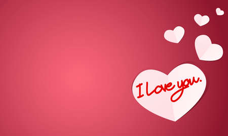 Vector illustration of white paper hearts cut with handwriting of red message I love you text on red background. Concept of love and valentine day, paper art style. Ilustração