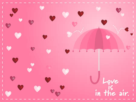 Vector illustration of pink umbrella in the air with heart-shaped raining and