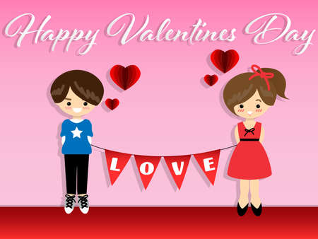 Vector illustration of boy and girl hold LOVE text in white on red flag together, red paper heart and Happy Valentines Day text on pink background.