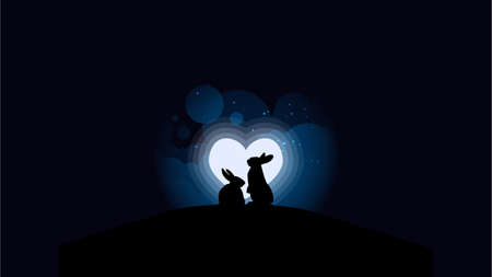 Vector illustration of rabbits couple looking at the full moon in heart shape. Night sky with stars and cloud. Vector illustration background. Design for valentine day.