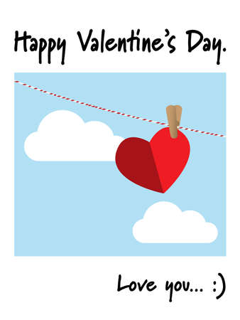Vector illustration of red paper heart hanging with woods clamp on a red and white line on blue sky background and Happy Valentines Day, love you... :) text. Valentine card.