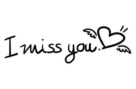 Vector illustration of I miss you. lettering text and heart shape with little wings isolated on a white background. 向量圖像