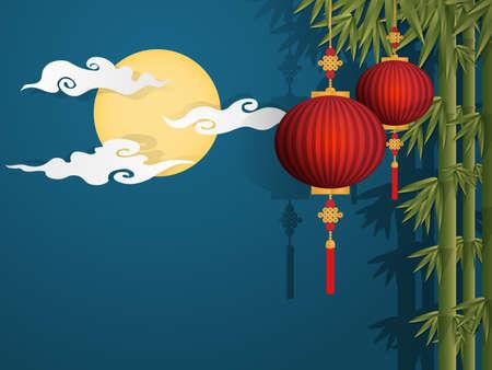 Twee Chinese rode lantaarns die op bamboeboom hangen op blauwe hemel met volle maan en wolkenachtergrond. vector illustrator in plat ontwerp voor Chinese nieuwjaarskaart of achtergrond.
