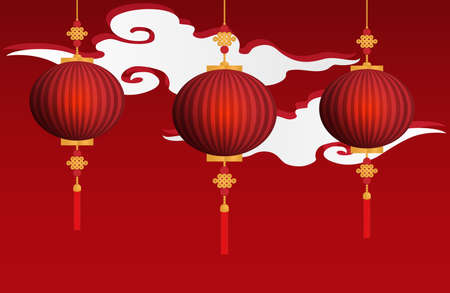 Chinese red lanterns hanging on red background with white cloud. vector illustrator in flat design for Chinese New Year card or background.