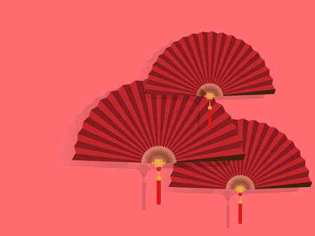 Red Chinese folding fans on light red background. Vector illustration design for Chinese New Year card or background.