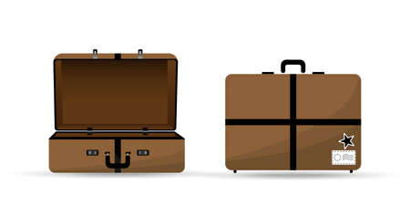 Vector illustration of travel bag in brown color open and close. Vacation design template. design in flat style. Vettoriali