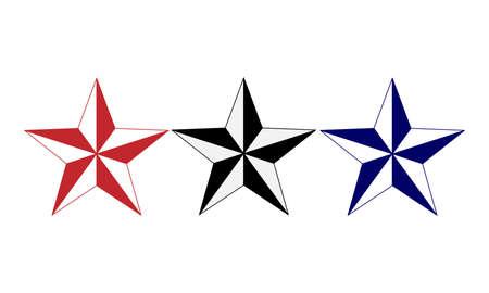 Vector el ejemplo del logotipo de dos estrellas blanco y rojo, negro, azul de las estrellas para su diseño, aislado en el fondo blanco. Estrellas de navidad