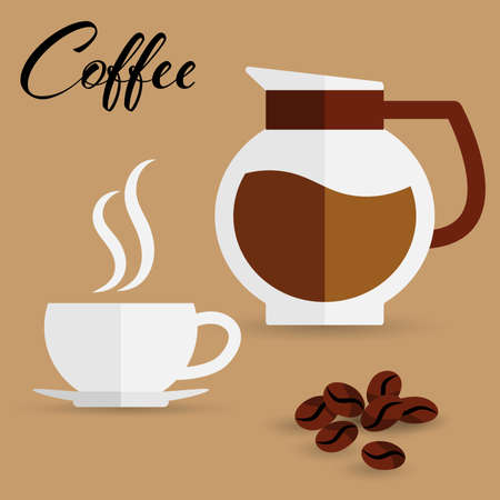 Vector illustration of coffee cup, coffee bean and  glass pot with coffee in flat design. Flat modern icons for coffee shop.  イラスト・ベクター素材