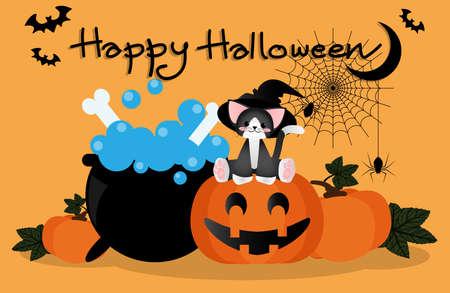 """Vector illustratie van schattige kat hebben heksenhoed zittend op pompoen lantaarn in de buurt van een pot, pompoenen, spinnen opknoping op spinneweb, en """"Happy Halloween"""" tekst en halve maan en vleermuizen op oranje achtergrond. Stock Illustratie"""
