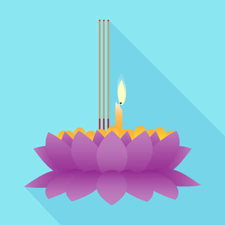vector illustration of Krathong for Loy Krathong Festival in Thailand on blue background. Illustration