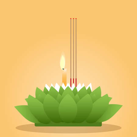 vector illustration of Krathong for Loy Krathong Festival in Thailand on yellow background. Illustration