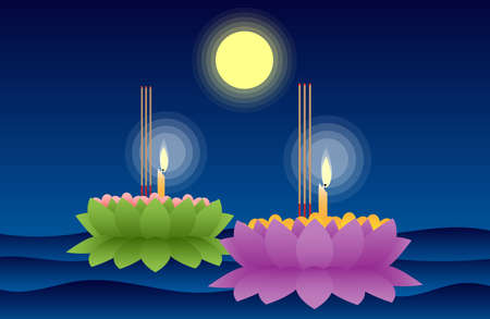 Vector illustration of Loy Krathong festival in full moon night at Thailand.