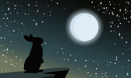 Vector illustration of silhouettes of rabbit looking at the full moon. Night sky with stars and milky way.Vector illustration background. Ilustração