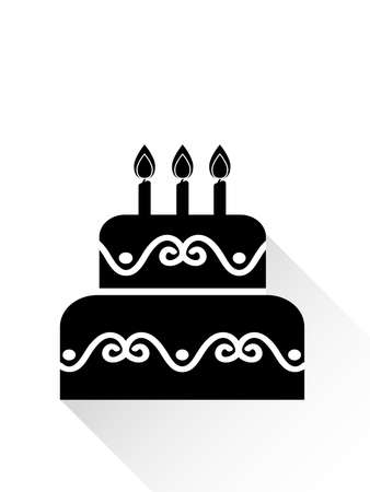 Vector Illustration Of Birthday Cake Icon In Black On White