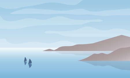 Ilustracja wektorowa zatoki seascape z łodzi i pochmurnego nieba. Tło krajobraz natura. Ilustracje wektorowe