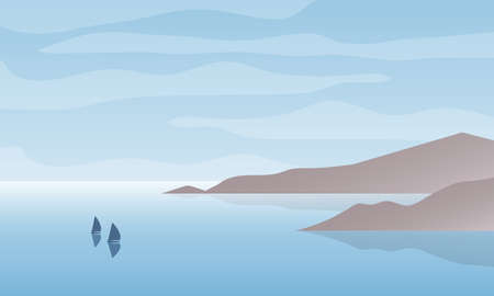 Vector illustration of seascape bay with boats and cloudy sky. Nature landscape background.