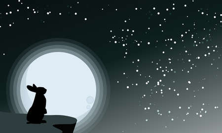 Vector illustration of silhouettes of a rabbit looking at the full moon. Night sky with stars and milky way.Vector illustration background.