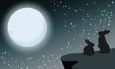 Vector illustration of silhouettes of rabbits looking at the full moon. Night sky with stars and milky way.Vector illustration background. Ilustração